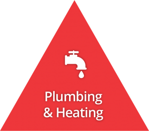 Icon - Plumbing and heating in red triangle